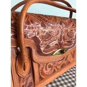 Handbags - Leather vintage purse bag brown embroidery design